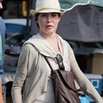 Lara Flynn Boyle horrible plastic surgery face at Farmer's Market in LA August 2010  66370