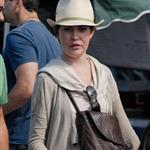 Lara Flynn Boyle horrible plastic surgery face at Farmer's Market in LA August 2010  66371