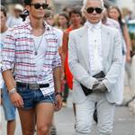 Karl Lagerfeld and muse Baptiste in St Tropez  67076