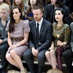 Aaron Paul sits front row with Dita Von Teese, Harry Styles, Dev Patel, and Gabriella Wilde at the Burberry Spring Summer 2013 Womenswear Show at London Fashion Week 126517