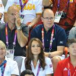 Prince Albert II of Monaco, Catherine, Duchess of Cambridge and official team GB ambassador Robin Cousins watch Synchronised Swimming on Day 13 of the London 2012 Olympic Games 122903