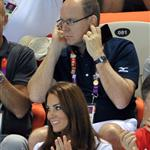 Prince Albert II of Monaco, Catherine, Duchess of Cambridge and official team GB ambassador Robin Cousins watch Synchronised Swimming on Day 13 of the London 2012 Olympic Games 122905