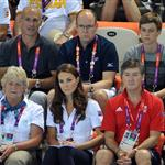 Prince Albert II of Monaco, Catherine, Duchess of Cambridge and official team GB ambassador Robin Cousins watch Synchronised Swimming on Day 13 of the London 2012 Olympic Games 122907