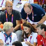 Prince Albert II of Monaco, Catherine, Duchess of Cambridge and official team GB ambassador Robin Cousins watch Synchronised Swimming on Day 13 of the London 2012 Olympic Games 122914