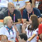 Prince Albert II of Monaco, Catherine, Duchess of Cambridge and official team GB ambassador Robin Cousins watch Synchronised Swimming on Day 13 of the London 2012 Olympic Games 122915
