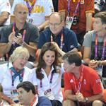 Prince Albert II of Monaco, Catherine, Duchess of Cambridge and official team GB ambassador Robin Cousins watch Synchronised Swimming on Day 13 of the London 2012 Olympic Games 122916