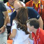 Prince Albert II of Monaco, Catherine, Duchess of Cambridge and official team GB ambassador Robin Cousins watch Synchronised Swimming on Day 13 of the London 2012 Olympic Games 122918