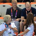 Prince Albert II of Monaco, Catherine, Duchess of Cambridge and official team GB ambassador Robin Cousins watch Synchronised Swimming on Day 13 of the London 2012 Olympic Games 122920