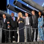 Peter Burg, Gregory D. Gadson, Brooklyn Decker, Taylor Kitsch, Alexander Skarsgard, Rihanna and Tadanobu Asano attend the Battleship Japan Premiere at International Yoyogi first gymnasium Tokyo 110458