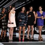 U.S. Olympic gymnasts Gabby Douglas, McKayla Maroney, Alexandra Raisman, Kyla Ross and Jordyn Wieber onstage during the 2012 MTV Video Music Awards 125394