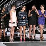 U.S. Olympic gymnasts Gabby Douglas, McKayla Maroney, Alexandra Raisman, Kyla Ross and Jordyn Wieber onstage during the 2012 MTV Video Music Awards 125395