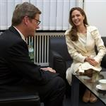 Angelina Jolie meets with German Foreign Minister Guido Westerwelle at the foreign ministry in Berlin 105461