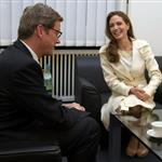 Angelina Jolie meets with German Foreign Minister Guido Westerwelle at the foreign ministry in Berlin 105467