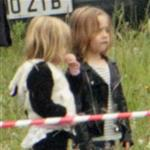Angelina Jolie's twins Vivienne and Knox visit her on the set of Maleficent 119171