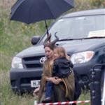 Angelina Jolie's twins Vivienne and Knox visit her on the set of Maleficent 119174