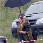 Angelina Jolie's twins Vivienne and Knox visit her on the set of Maleficent 119176