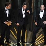 Jim Rash makes fun of Angelina Jolie on stage at the 84th Annual Academy Awards 107618