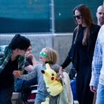 Angelina Jolie at LAX with Zahara and Shiloh returning to Brad Pitt 90427