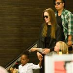 Angelina Jolie at LAX with Zahara and Shiloh returning to Brad Pitt 90433