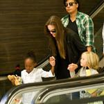 Angelina Jolie at LAX with Zahara and Shiloh returning to Brad Pitt 90435