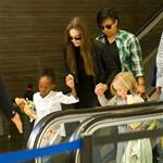 Angelina Jolie at LAX with Zahara and Shiloh returning to Brad Pitt 90437