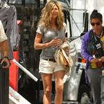 Jennifer Aniston wears wedges and tweaks her hard nipples on set in New York 43780