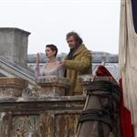 Anne Hathaway and Hugh Jackman film Les Miserables on location in London 111776