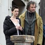 Anne Hathaway and Hugh Jackman film Les Miserables on location in London 111778