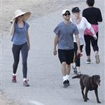 Anne Hathaway and Adam Shulman walking their dog at Runyon Canyon 126840