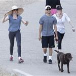 Anne Hathaway and Adam Shulman walking their dog at Runyon Canyon 126842