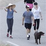 Anne Hathaway and Adam Shulman walking their dog at Runyon Canyon 126843