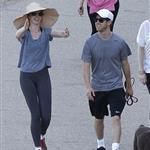 Anne Hathaway and Adam Shulman walking their dog at Runyon Canyon 126845