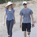 Anne Hathaway and Adam Shulman walking their dog at Runyon Canyon 126848