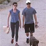 Anne Hathaway and Adam Shulman walking their dog at Runyon Canyon 126851