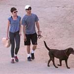 Anne Hathaway and Adam Shulman walking their dog at Runyon Canyon 126852