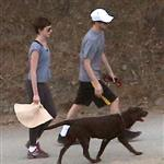 Anne Hathaway and Adam Shulman walking their dog at Runyon Canyon 126856