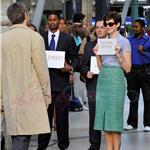 Anne Hathaway with short wig shoots One Day with Jim Sturgess in Paris  67940