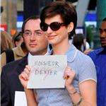 Anne Hathaway with short wig shoots One Day with Jim Sturgess in Paris  67941