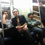 Ashley Greene Reeve Carney hold hands on subway 95597