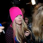 Avril Lavigne in a pink toque leaving a club in LA 35857
