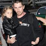 Christian Bale, wife, and daughter Emmaline leaving LA 22666
