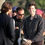 Wes Bentley and Christian Bale play in the surf filming on Santa Monica Beach 110572
