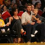 The Beckhams at the Laker game 49795