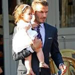 David Beckham holds Harper as they leave 202 restaurant in Notting Hill  121826