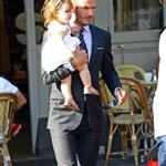 David Beckham holds Harper as they leave 202 restaurant in Notting Hill  121827