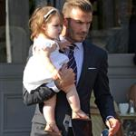 David Beckham holds Harper as they leave 202 restaurant in Notting Hill  121828