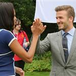 Michelle Obama and David Beckham celebrate Nickelodeon joins Let's Move for 'Let's Move London' event at the American Ambassadors Residence in London 121870