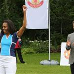 Michelle Obama and David Beckham celebrate Nickelodeon joins Let's Move for 'Let's Move London' event at the American Ambassadors Residence in London 121874