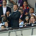 Prince William, David Beckham and his children watch on during the Men's Football first round Group A Match between Great Britain and United Arab Emirates on Day 2 of the London 2012 Olympic Games at Wembley Stadium  121876