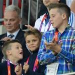 Prince William, David Beckham and his children watch on during the Men's Football first round Group A Match between Great Britain and United Arab Emirates on Day 2 of the London 2012 Olympic Games at Wembley Stadium  121884